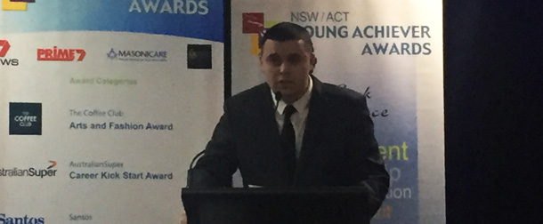 Young Achiever of the year and winner of the 2015 Santos Indigenous Achievement Award Rhett Burraston speaks at the launch.